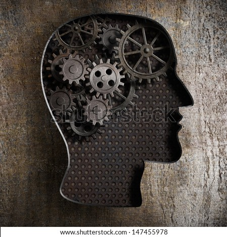 Brain work concept: gears and cogs from old rusty metal - stock photo