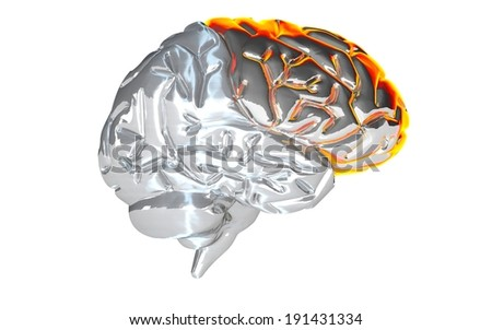 brain, yellow, side view , in working condition , mechanical , artificial , intellect , study, complex, artificial Intelligence , cybernetic