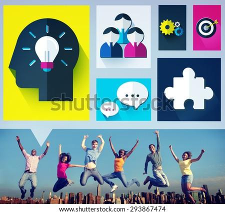 Brainstorm Brainstorming Sharing Teamwork Planning Concept - stock photo