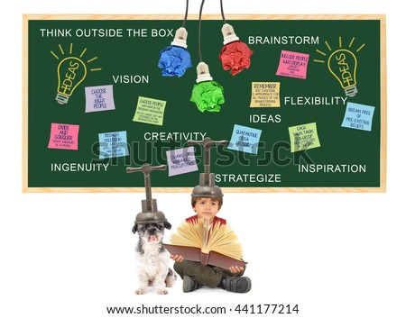 Brainstorm Chalkboard: Crumbled Paper Light Bulbs, Post it notes (Choose Right People, Promote Discussion, Quarantine Idea Crushers, Think Tank, Sub Groups, Shake up Ingrained Perceptions) Boy Dog  - stock photo