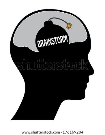 Brainstorm concept design with head and bomb, raster version. - stock photo