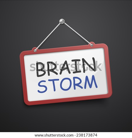 brainstorm hanging sign isolated on black wall  - stock photo
