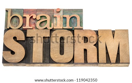 brainstorm - isolated word in vintage letterpress wood type blocks - stock photo