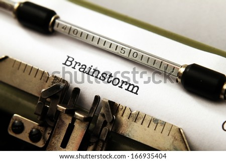 Brainstorm text on typewriter - stock photo