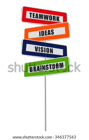 Brainstorm, Vision, Ideas, Teamwork Sign isolated on white background