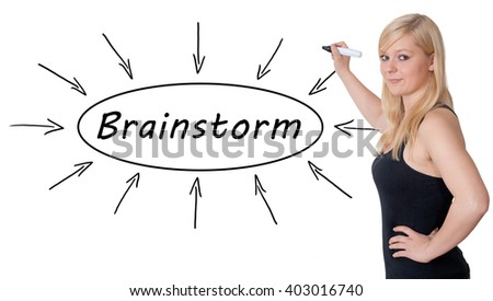 Brainstorm - young businesswoman drawing information concept on whiteboard.  - stock photo