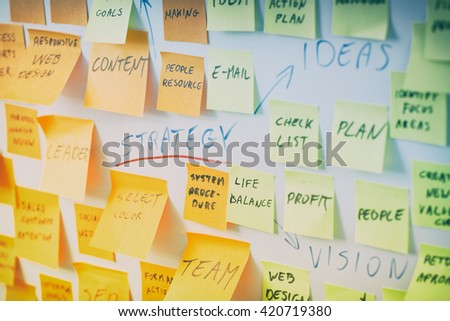 brainstorming brainstorm strategy workshop business note notes sticky - stock image - stock photo