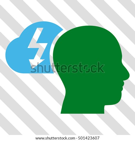 Brainstorming glyph icon. Image style is a flat blue and green pictogram symbol on a hatched diagonal transparent background.