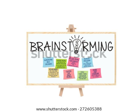 Brainstorming Ideas Light Bulb Blackboard on Easel with Post it notes: Choose the Right People, Quarantine Idea Crushers, Promote Discussion, Focused Think Tank Groups - stock photo