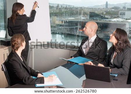 brainstorming in office - stock photo