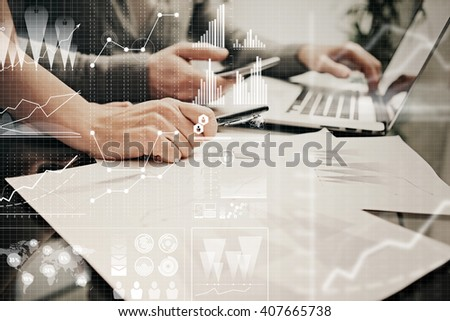 Brainstorming meeting concept.Businessmans crew working banking investment project modern office.Using contemporary laptop. Worldwide connection technology icons,stock exchanges graphics interface.  - stock photo