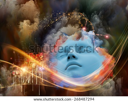 Brainwaves series. Composition of human face and colorful fractal clouds on the subject of dreams, mind, spirituality, imagination and inner world - stock photo