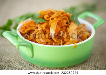 braised cabbage diet lean in a green bowl - stock photo