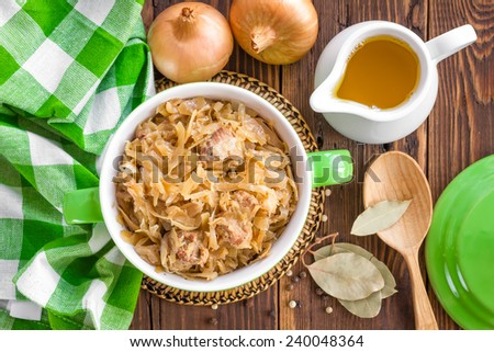 Braised cabbage with meat - stock photo
