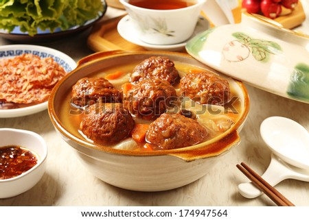 Braised pork balls in soy sauce   - stock photo