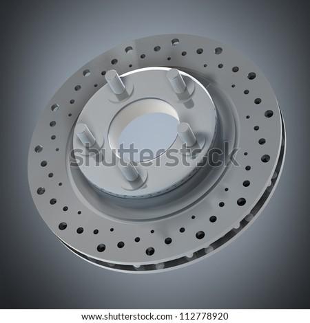 Brake Disc 3d render High resolution - stock photo