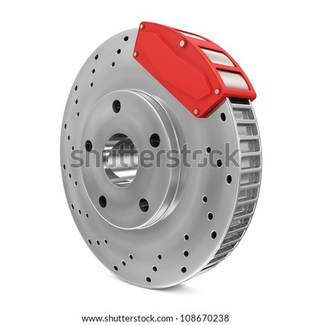 Brake Disc isolated on white background - stock photo