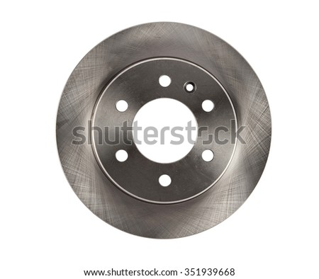 Brake disc isolated on white car spare parts - stock photo