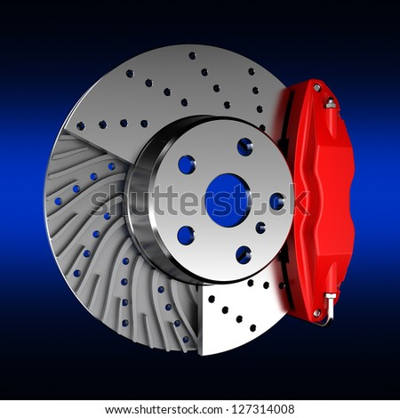 Brake Disc on color background - stock photo