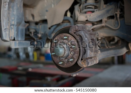 Brake disk and detail of the wheel assembly