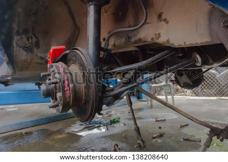brake disk and Used Car Break detail with tire removed - stock photo