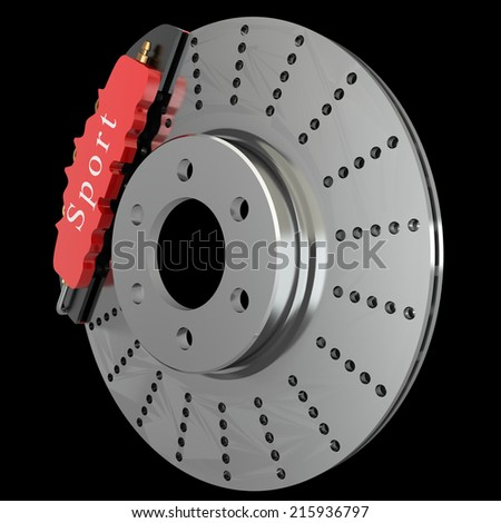 Brake disk with a red support. isolated. black background. 3d