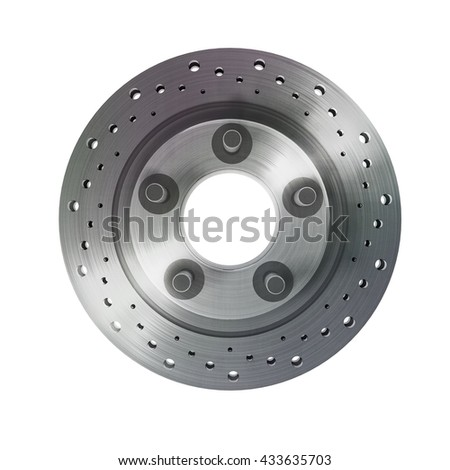 brake disk with perforation on white background High resolution 3d render