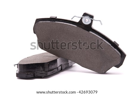 Brake pads on a white background - stock photo