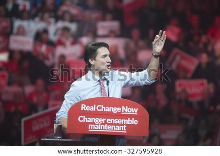 BRAMPTON - OCTOBER 4 : Aggressive mood of Justin Trudeau during an election rally of the Liberal Party of Canada on October 4, 2015 in Brampton, Canada.