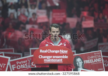BRAMPTON - OCTOBER 4 :Canadian Olympic medalist Adam Van Koeverden speaking to the audience during an election rally of the Liberal Party of Canada on October 4, 2015 in Brampton, Canada. - stock photo