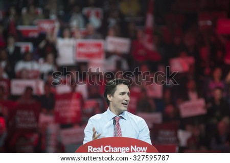 BRAMPTON - OCTOBER 4 :during an election rally of the Liberal Party of Canada on October 4, 2015 in Brampton, Canada.