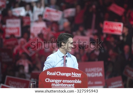 BRAMPTON - OCTOBER 4 :Justin Trudeau in a relaxed mood during an election rally of the Liberal Party of Canada on October 4, 2015 in Brampton, Canada.
