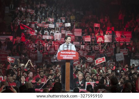 BRAMPTON - OCTOBER 4 :Justin Trudeau speaking during an election rally of the Liberal Party of Canada on October 4, 2015 in Brampton, Canada. - stock photo