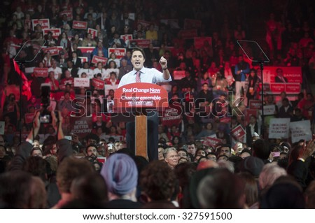 BRAMPTON - OCTOBER 4 :Justin Trudeau speaking in an election rally of the Liberal Party of Canada on October 4, 2015 in Brampton, Canada. - stock photo