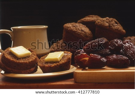 Bran Muffins, Coffee and Dried Dates