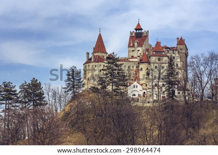 BRAN, ROMANIA - MARCH 22, 2015: Bran Castle, also known as Dracula's Castle. Its fame is created around Bram Stoker character, Count Dracula, often identified as Vlad Tepes (Vlad the Impaler).