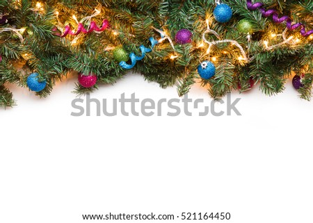 Branch fir with Christmas ornaments