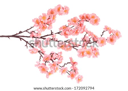 Branch of blooming artificial pink flowers. Whole background. - stock photo