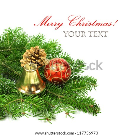 Branch of Christmas tree and decoration on white background