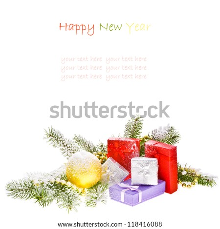 branch of Christmas tree with gift boxes isolated on white background  Christmas concept  Happy New Year concept - stock photo