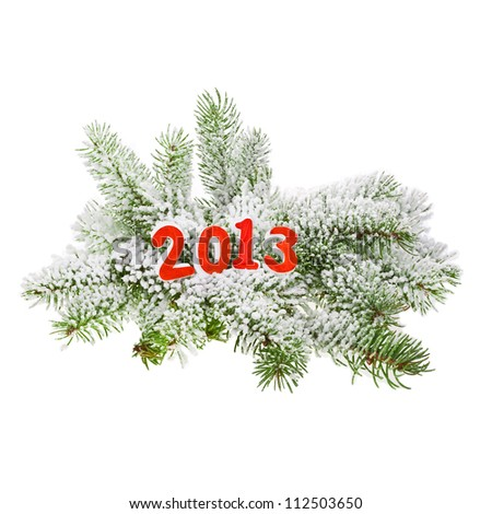 branch of Christmas tree with  numbers in 2013 sprinkled with snow isolated on white background, concept of new year - stock photo
