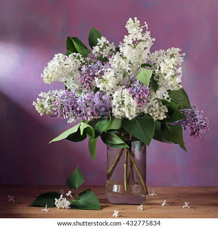 Branch of lilac in a glass jar on a purple background. Still life with flowering branches of white and purple lilac.