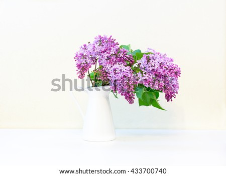 branch of lilac in a vase on white background with shadow