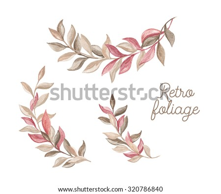 Branches foliage. Set of floral compositions. Watercolor design elements on a white background. - stock photo