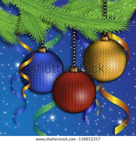 branches of a Christmas tree and color spheres