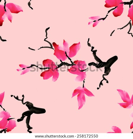 Branches of blooming magnolia flowers, spring watercolor seamless pattern on pink background