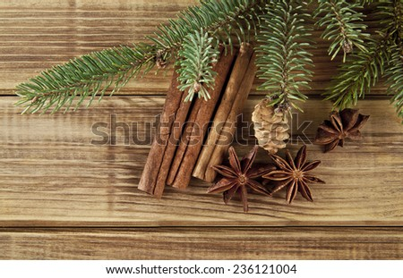 branches of fir-tree and seasoning on a wooden background