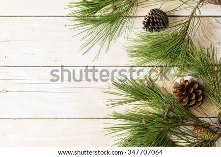 Branches of pinetree with cones on wooden background