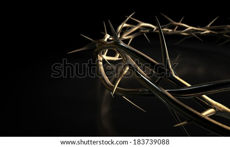 Branches of thorns made of gold woven into a crown depicting the crucifixion on an isolated  dark background - stock photo