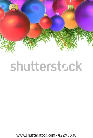 Branches with a Christmas toy on a white background